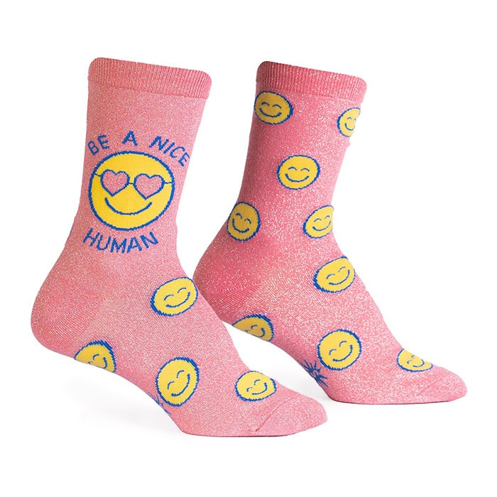 Be A Nice Human Women's Crew Shimmer Socks