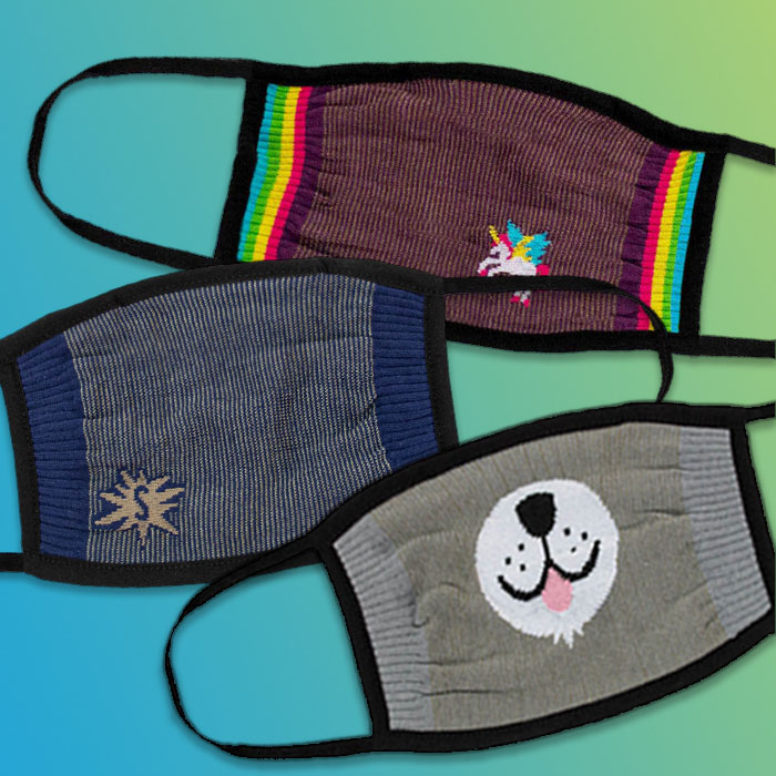 ¿Cómo Te Llamas?, Furry Sidekick, and Indigo Blue unisex face masks.