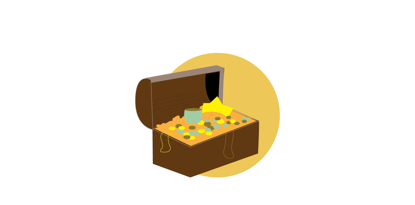 Save - treasure chest on a yellow circle